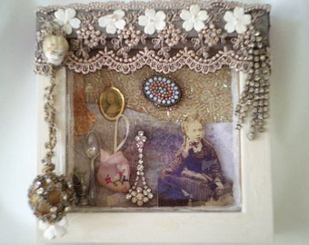 diorama, victorian assemblage, shadow box, altered art, wedding box, victorian diorama, miniature victorian house, victorian doll house