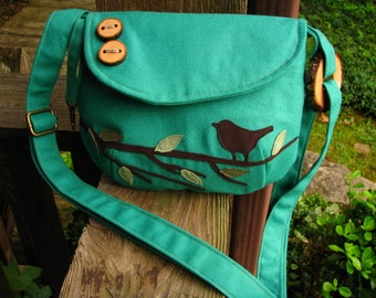"Mini purse 9"" BY 7""  Singing Bird on a Branch Shoulder Bag /Purse /Messenger/  Tote /School Bag/ for Adult or Child"