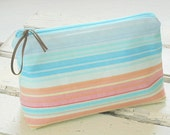 Pastel Stripe Makeup Bag, Colorful Zipper Pouch, Cosmetic Bag, Travel Bag