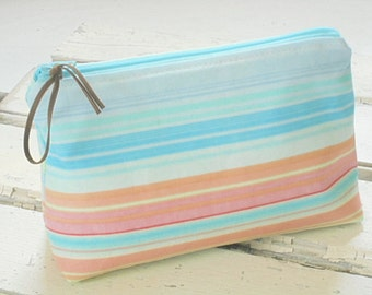 Pastel Stripe Makeup Bag, Colorful Zipper Pouch, Cosmetic Bag, Travel Bag