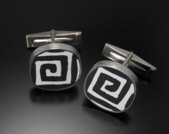 Sterling silver, polymer cuff links #105