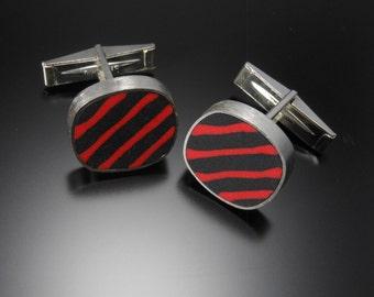 Sterling silver, polymer cuff links #104