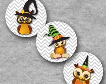 Halloween Owl Stickers Envelope Seals Stickers Fall Party Stickers Birthday Favor Stickers  - Set of 24 - Ses249