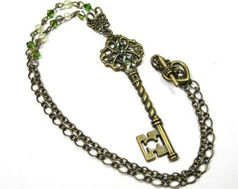 Victorian Style Skeleton Key Necklace, Peridot Green Jonquil Yellow Swarovski Crystal Key Pendant Necklace, Gift Ideas for Women, Boho Chic