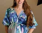 Watercolor Full Front Buttoned Nursing Kaftan, Maternity Gown, Hospital Gown, Delivery Gown, Labor gown, Dressing Gown, Baby shower Gift