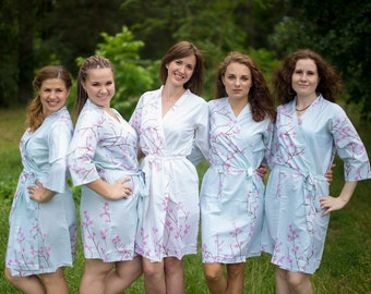 Light Blue Cherry Blossom Bridesmaids Robes. Bridesmaids gifts. Getting ready robes. Bridal Party Robes. Floral Robes. Dressing Gowns Kimono