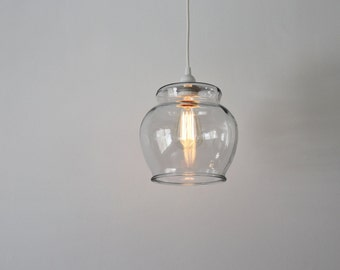 Fish Bowl Pendant Lamp - Hanging Pendant Lamp Made From A Vintage Glass Fish Bowl Terrarium - BootsNGus Upcycled Lighting Fixture