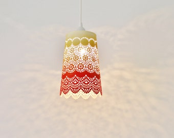 Ombre Pendant Light, Hanging Pendant Lighting Fixture, Metal Lace Shade In Red Orange Yellow Ombre, Modern BootsNGus Lamps and Home Decor