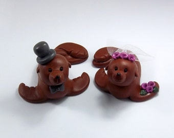 Sea Lion, Wedding Cake Topper, Wedding Decoration, Bride and Groom, Personalized Figurines