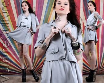 Vintage 70's Minimalist Gray Simple Block Mod Secretary Mini Dress Jacket Set M/L
