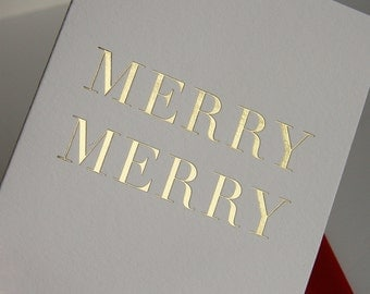 Holiday Christmas Cards - Merry Merry - Gold foil