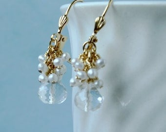 Crystal quartz briolette,tiny fresh water pearls, dangle earrings, wire wrapped, 22 ct gold plated earrings. E0006GP