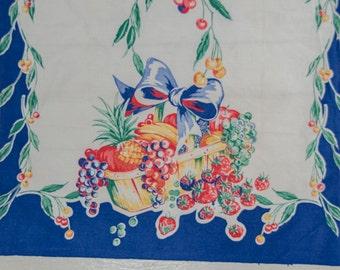 Vintage 1940s Blue Fruit Basket Print Kitchen Towel