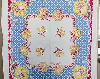 Vintage 1940's Red Blue and Yellow Graphic Floral Print Tablecloth