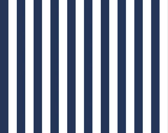 Navy and White Half Inch Stripes Fabric from Riley Blake Designs - By the Yard - 1 Yard - C530-21