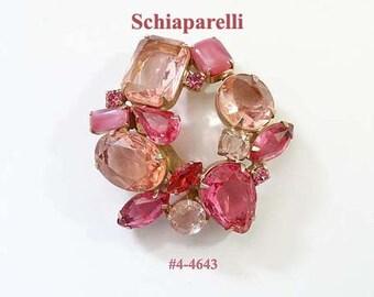 FREE SHIP  Unsigned Fabulous Rhinestone Pink Brooch (4-4627)