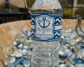 Nautical Wedding Water Bottle Labels - Anchor with Chevron Design - Customizable Weatherproof Polyester Laser Printed