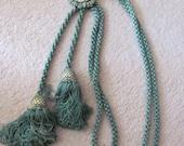 Set of 2 Vintage Large Long Green Drapery Tassel Rope Tie Back