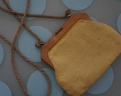 Vintage Saks Fifth Avenue Yellow Raffia Small Shoulder Bag- Made in Italy!