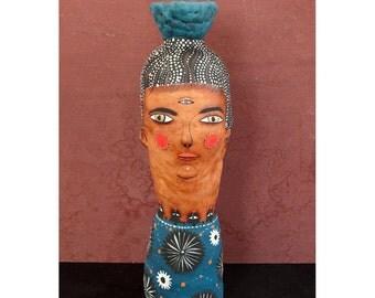 Lady With a Blue Pot - Jenny Mendes Sculpture