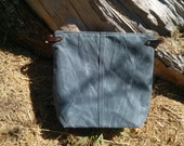 Large Gray Waxed Canvas, Cordura, and Leather Zipper Pouch