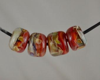 Lampwork Boro Glass Bead - Rose Garden Barrels
