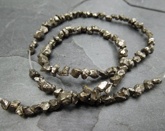 Pyrite rough Nuggets 3-5mm, 16 inch full strand
