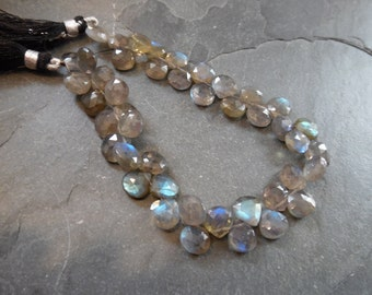 Labradorite faceted heart briolettes strand. Beads size 8.5mm (11m14)