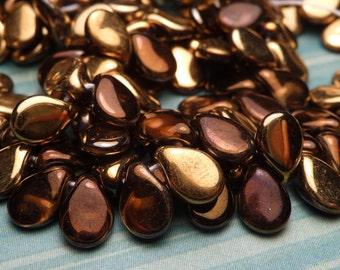 Metallic Bronze and Gold Glass Teardrops 7x5mm - 20pc