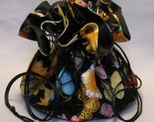 Butterflies & Flowers--Large Jewelry Travel Tote--Drawstring Organizer Pouch