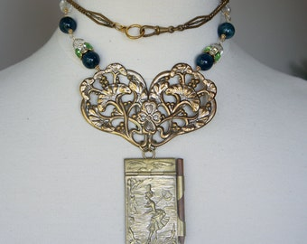 Antique Assemblage Necklace with Antique French Art Nouveau Buckle and Aide de Memoire with Apatite Beads
