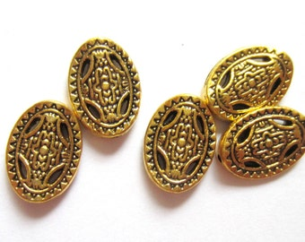 18 Gold Beads antiqued gold jewelry making supply 13mm x 10mm ph- X2