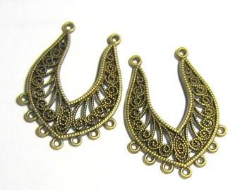 6 Earring drops antique bronze boho gypsy earring hoops hippie jewelry findings bohemian  style antique jewelry B5753-F3