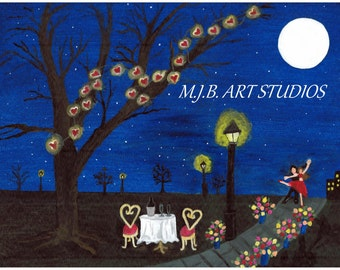 Love Under the Moon 9x12Linen Print of my Original Painting