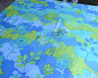Vintage Fabric - Blue and Green Watercolor Floral - By the Yard - Water Resistant Cotton