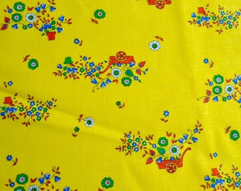 Vintage Fabric  - Flower Wagons on Yellow Broadcloth - 44 x 62