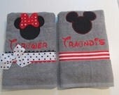 Bath, Beach, Pool towels with Minnie and Mickey Appliques, Monograms