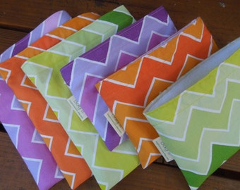 ON SALE -Reusable sandwich and/or snack bags - Reusable sandwich bags - Reusable snack bags - Chevrons -  Pls read description b4 purchasing