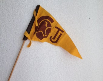 college felt pennant on stick football school pride TJ trojans USC vintage