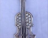 Vintage Rhinestone Violin Brooch Musical Instrument Silver Tone