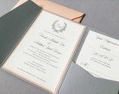 Classic Laurel Wreath Wedding Invitation Suite, RSVP Card, 2 Insert Cards plus Envelopes