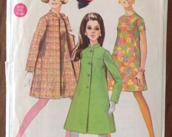 Vintage Simplicity 7492 Mod Dress and Coat size 11/12