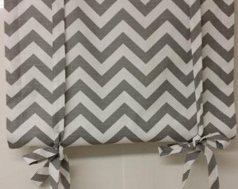 Custom made, tie up window shade, roll up shade, blackout lined zig zag grey white