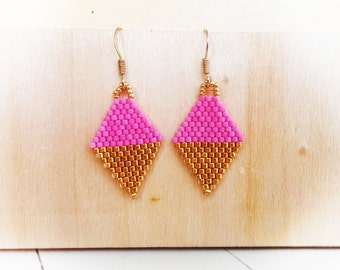 Gold or Silver / Pink Beaded mini Kite earrings