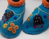 womens blue wool slippers upcycled with flowers