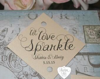 Sparkler Send Off, Wedding Sparkler Tags, Let Love Sparkle Favors Tags, Wedding Favors Let Love Sparkle, Wedding Favors (200 tags)