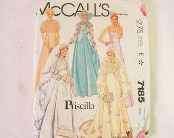 Vintage 1980 Priscilla Bridal Gown Pattern, McCalls 7185