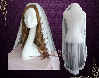 Long Fingertip Lace Wedding Veil with Soft Tulle VG1058