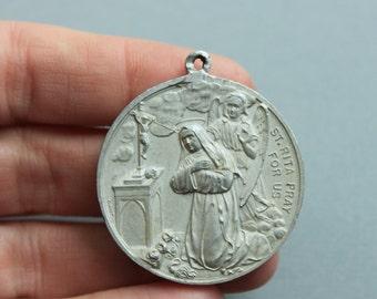 Massive Antique St Rita and Angel / Sacred Heart Catholic Religious Medal Relic Pendant
