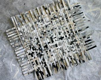 Paper Weaving- Mixed Media- 10x12- White, Black, Grey- Handwoven Decor- Crossword Puzzles- Wall Weave- Fine Art